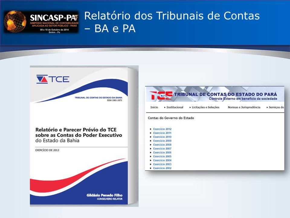 Relatório dos Tribunais de Contas – BA e PA