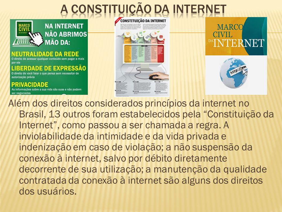 """Além dos direitos considerados princípios da internet no Brasil, 13 outros foram estabelecidos pela """"Constituição da Internet"""", como passou a ser cham"""