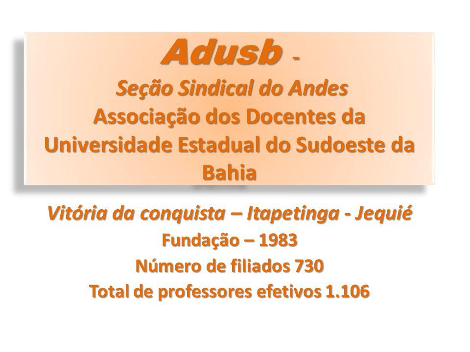 Adusb - Estrutura sindical nos três campi da UESB Rodízio de assembleias Vitória da Conquista Presidente; Vice-Presidente; Secretário Geral; Diretor Financeiro; Diretor Sindical; Diretor Acadêmico; Diretor de Comunicação.