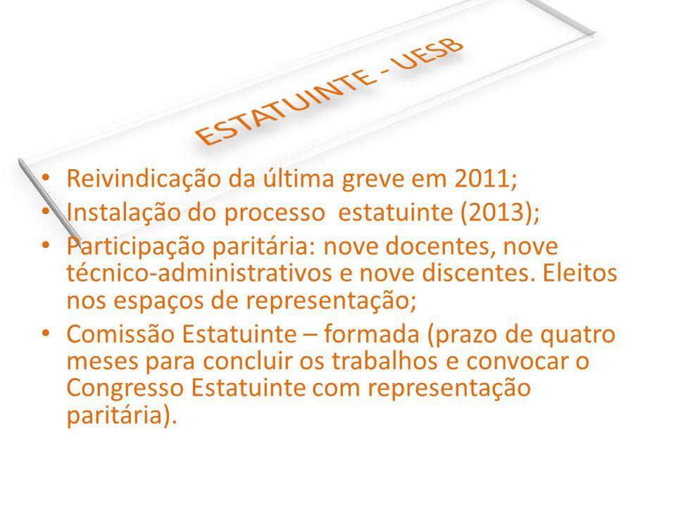 Reivindicação da última greve em 2011; Instalação do processo estatuinte (2013); Participação paritária: nove docentes, nove técnico-administrativos e