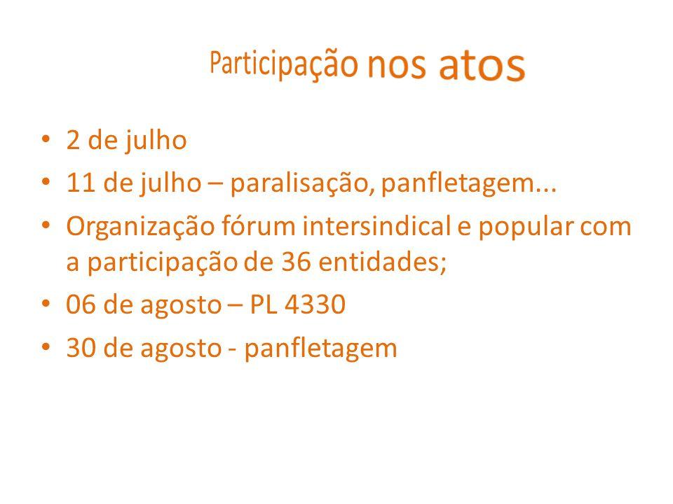 2 de julho 11 de julho – paralisação, panfletagem... Organização fórum intersindical e popular com a participação de 36 entidades; 06 de agosto – PL 4