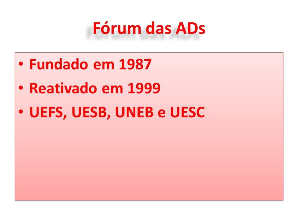 Fórum das ADs Fundado em 1987 Reativado em 1999 UEFS, UESB, UNEB e UESC Fundado em 1987 Reativado em 1999 UEFS, UESB, UNEB e UESC