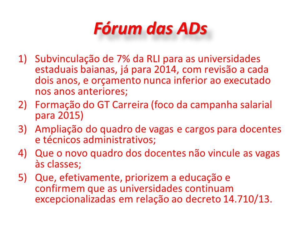 Fórum das ADs 1)Subvinculação de 7% da RLI para as universidades estaduais baianas, já para 2014, com revisão a cada dois anos, e orçamento nunca infe