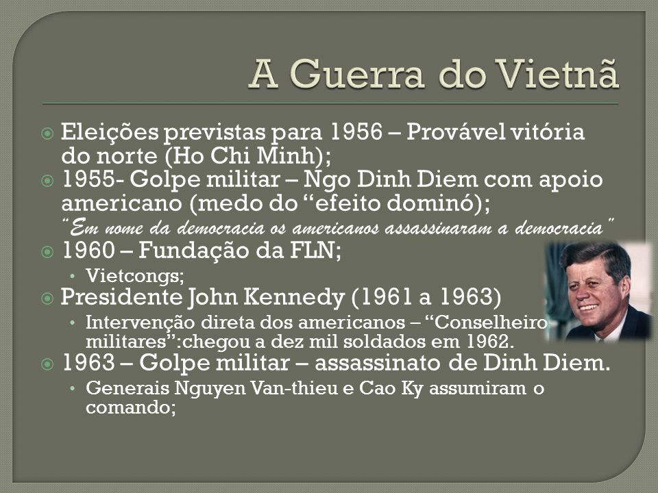 """ Eleições previstas para 1956 – Provável vitória do norte (Ho Chi Minh);  1955- Golpe militar – Ngo Dinh Diem com apoio americano (medo do """"efeito d"""