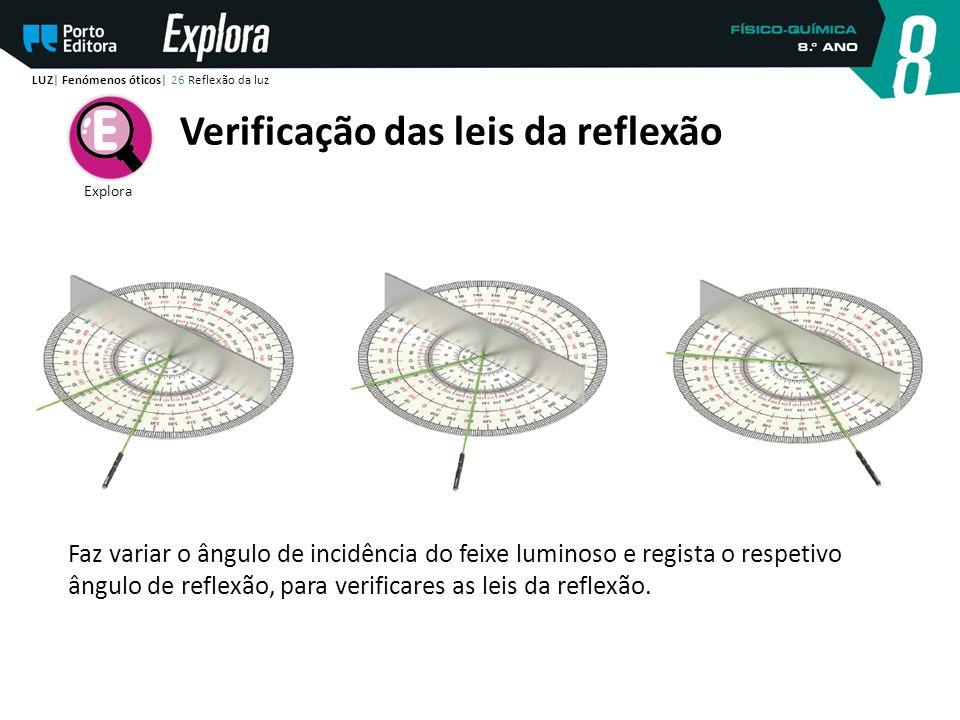 Faz variar o ângulo de incidência do feixe luminoso e regista o respetivo ângulo de reflexão, para verificares as leis da reflexão. LUZ| Fenómenos óti