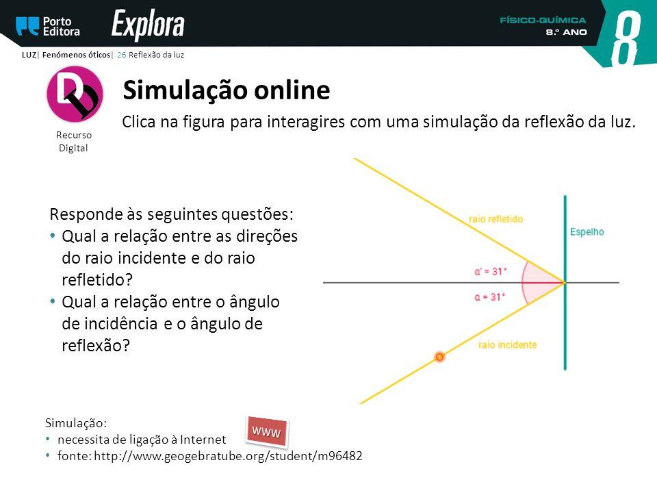 Recurso Digital Simulação online Clica na figura para interagires com uma simulação da reflexão da luz. LUZ| Fenómenos óticos| 26 Reflexão da luz Resp
