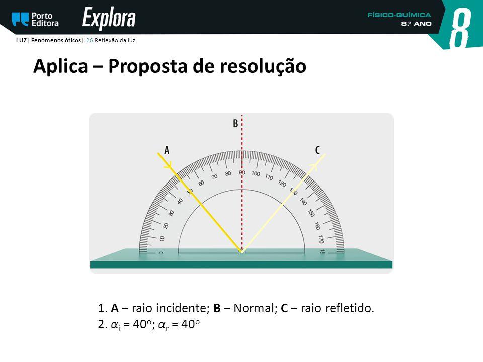 Aplica ‒ Proposta de resolução LUZ| Fenómenos óticos| 26 Reflexão da luz 1. A ‒ raio incidente; B ‒ Normal; C ‒ raio refletido. 2. α i = 40 o ; α r =