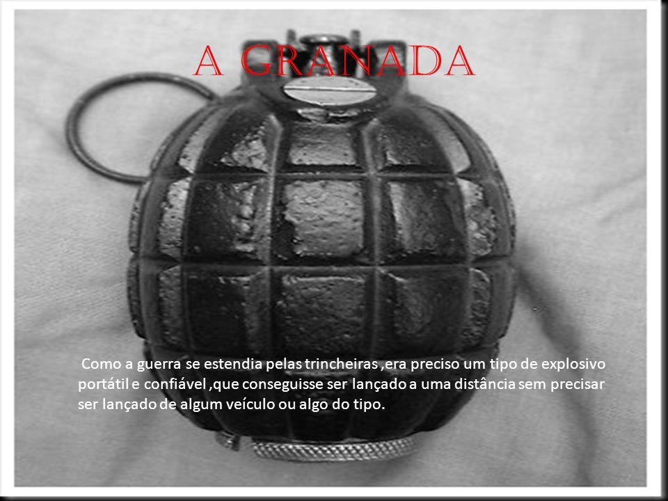 A granada Como a guerra se estendia pelas trincheiras,era preciso um tipo de explosivo portátil e confiável,que conseguisse ser lançado a uma distância sem precisar ser lançado de algum veículo ou algo do tipo.