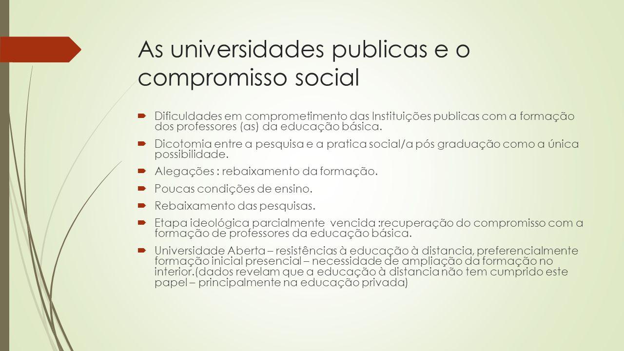 As universidades publicas e o compromisso social  Dificuldades em comprometimento das Instituições publicas com a formação dos professores (as) da ed