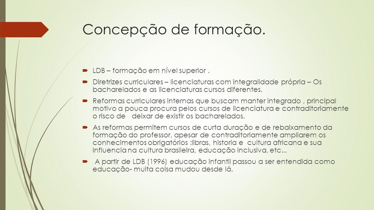 Concepção de formação.  LDB – formação em nível superior.
