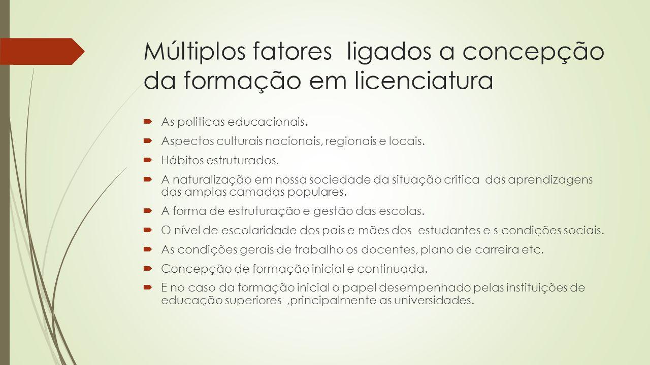 Múltiplos fatores ligados a concepção da formação em licenciatura  As politicas educacionais.  Aspectos culturais nacionais, regionais e locais.  H