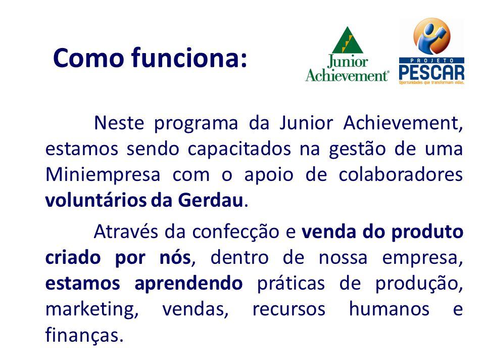 Neste programa da Junior Achievement, estamos sendo capacitados na gestão de uma Miniempresa com o apoio de colaboradores voluntários da Gerdau. Atrav