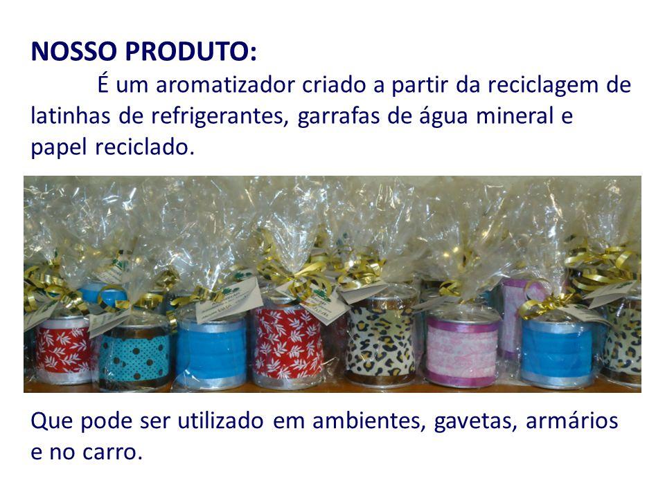 NOSSO PRODUTO: É um aromatizador criado a partir da reciclagem de latinhas de refrigerantes, garrafas de água mineral e papel reciclado. Que pode ser