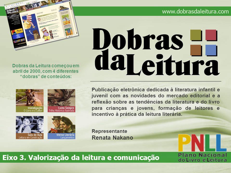 Dobras da Leitura começou em abril de 2000, com 4 diferentes dobras de conteúdos: www.dobrasdaleitura.com Eixo 3.