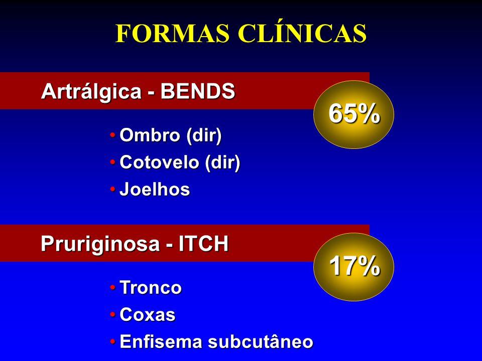 FORMAS CLÍNICAS Ombro (dir)Ombro (dir) Cotovelo (dir)Cotovelo (dir) JoelhosJoelhos Artrálgica - BENDS 65% TroncoTronco CoxasCoxas Enfisema subcutâneoE