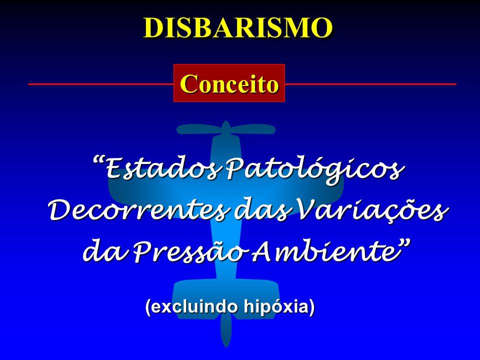 """DISBARISMODISBARISMO Conceito """"Estados Patológicos Decorrentes das Variações da Pressão Ambiente"""" (excluindo hipóxia)"""