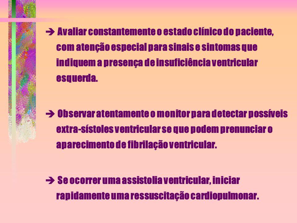  Avaliar constantemente o estado clínico do paciente, com atenção especial para sinais e sintomas que indiquem a presença de insuficiência ventricula