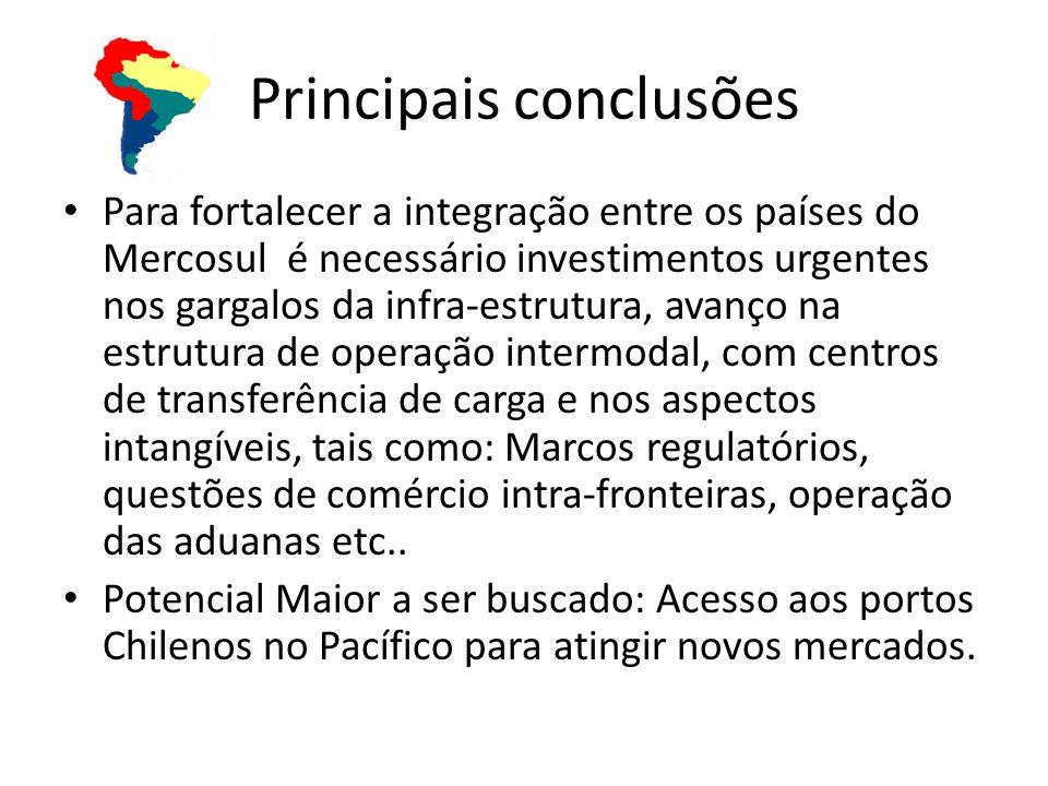 Principais conclusões Para fortalecer a integração entre os países do Mercosul é necessário investimentos urgentes nos gargalos da infra-estrutura, av
