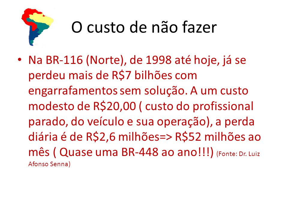 Na BR-116 (Norte), de 1998 até hoje, já se perdeu mais de R$7 bilhões com engarrafamentos sem solução.