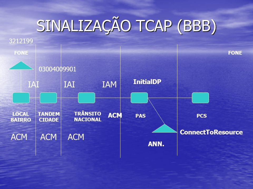 SINALIZAÇÃO TCAP (BBB) FONE LOCAL BAIRRO TANDEM CIDADE PASPCS IAIIAM ACM IAI 03004009901 3212199 TRÂNSITO NACIONAL InitialDP ConnectToResource ANN.