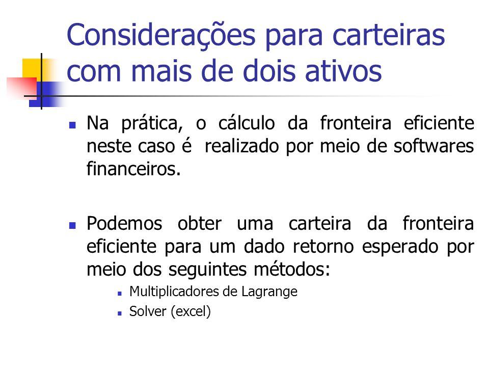 Considerações para carteiras com mais de dois ativos Na prática, o cálculo da fronteira eficiente neste caso é realizado por meio de softwares finance