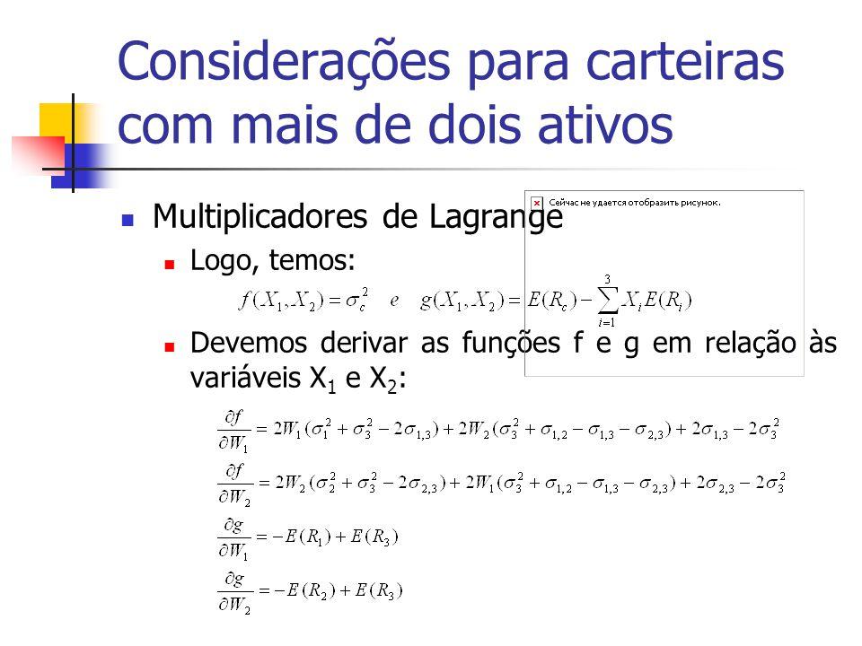 Considerações para carteiras com mais de dois ativos Multiplicadores de Lagrange Logo, temos: Devemos derivar as funções f e g em relação às variáveis
