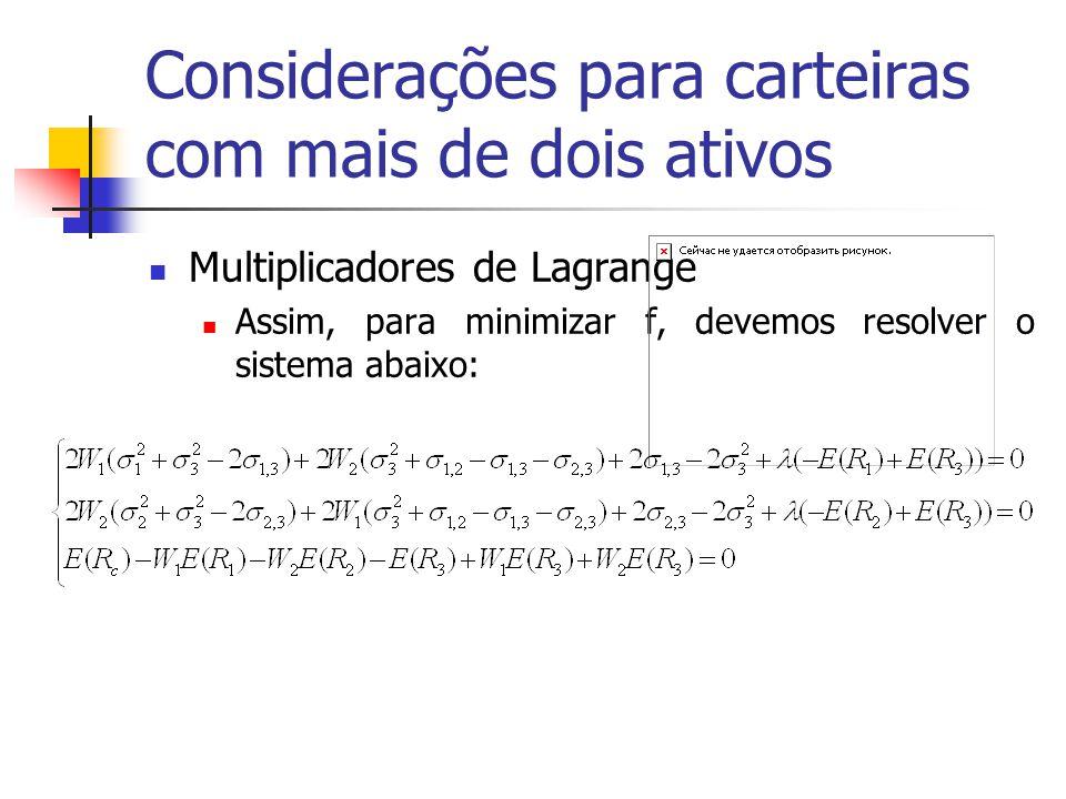 Considerações para carteiras com mais de dois ativos Multiplicadores de Lagrange Assim, para minimizar f, devemos resolver o sistema abaixo: