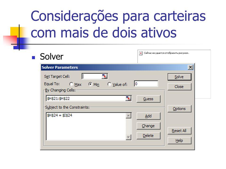 Considerações para carteiras com mais de dois ativos Solver