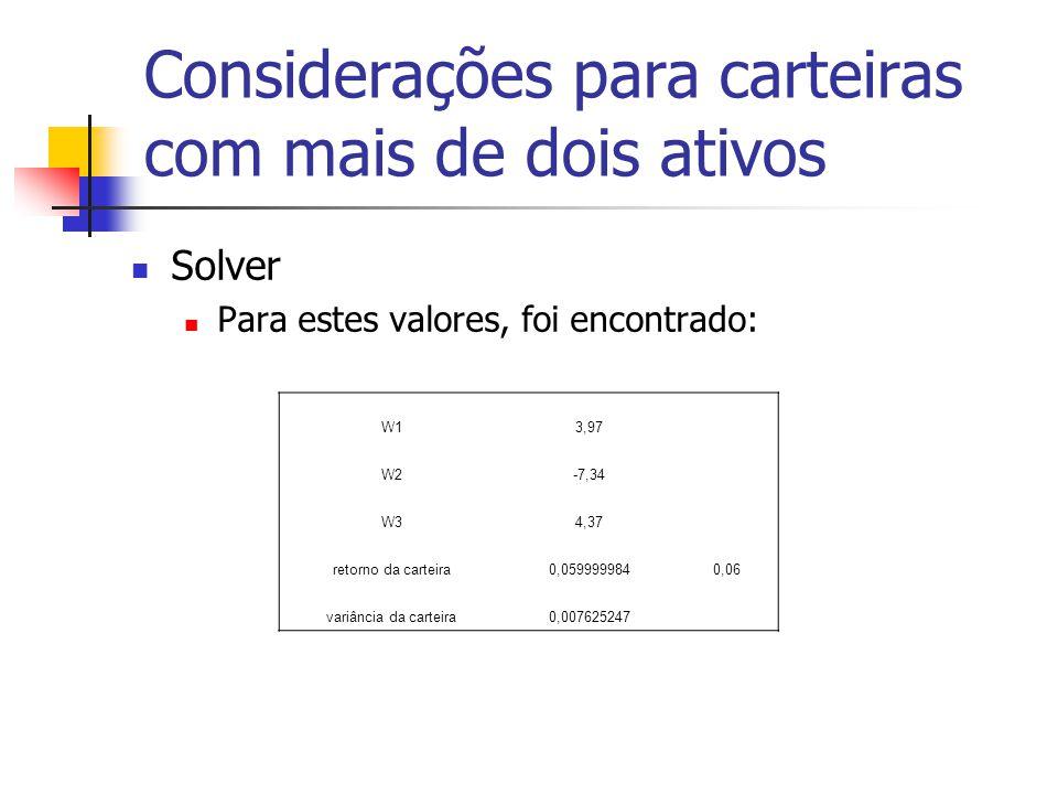 Considerações para carteiras com mais de dois ativos Solver Para estes valores, foi encontrado: W13,97 W2-7,34 W34,37 retorno da carteira0,0599999840,