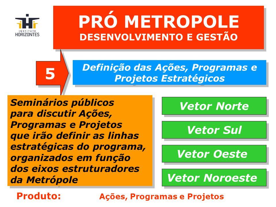 PRÓ METROPOLE DESENVOLVIMENTO E GESTÃO Definição das Ações, Programas e Projetos Estratégicos 5 5 Seminários públicos para discutir Ações, Programas e Projetos que irão definir as linhas estratégicas do programa, organizados em função dos eixos estruturadores da Metrópole Seminários públicos para discutir Ações, Programas e Projetos que irão definir as linhas estratégicas do programa, organizados em função dos eixos estruturadores da Metrópole Vetor Norte Vetor Sul Vetor Oeste Vetor Noroeste Produto: Ações, Programas e Projetos