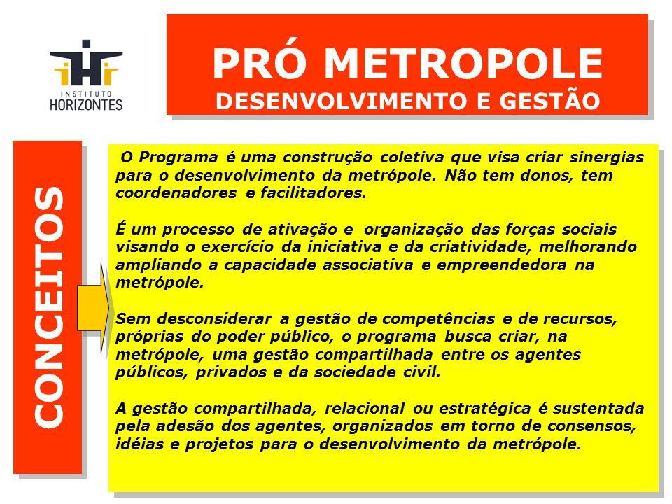 CONCEITOS O Programa é uma construção coletiva que visa criar sinergias para o desenvolvimento da metrópole.