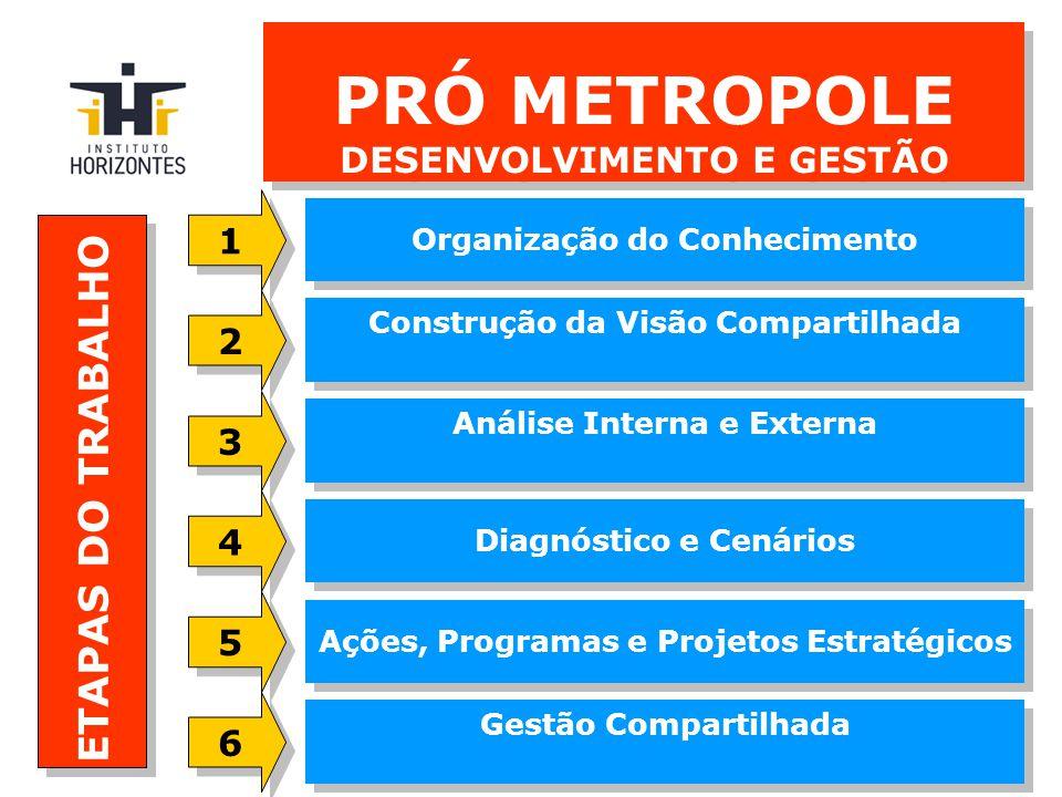 PRÓ METROPOLE DESENVOLVIMENTO E GESTÃO Construção da Visão Compartilhada Organização do Conhecimento Análise Interna e Externa Diagnóstico e Cenários ETAPAS DO TRABALHO Ações, Programas e Projetos Estratégicos Gestão Compartilhada 2 2 1 1 3 3 4 4 5 5 6 6