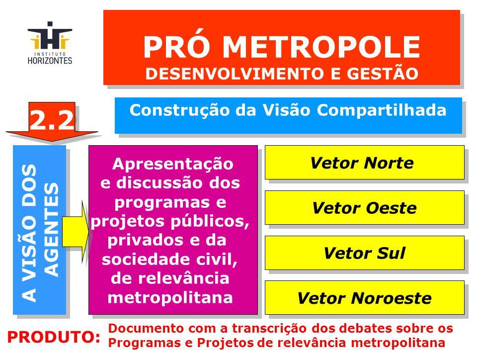 A VISÃO DA SOCIEDADE A VISÃO DA SOCIEDADE SEMINÁRIOS REGI0NALIZADOS ORGANIZADOS SEGUNDO OS EIXOS DA METRÓPOLE SEMINÁRIOS REGI0NALIZADOS ORGANIZADOS SEGUNDO OS EIXOS DA METRÓPOLE Vetor Norte Vetor Oeste Vetor Sul Vetor Noroeste PRÓ METROPOLE DESENVOLVIMENTO E GESTÃO Construção da Visão Compartilhada Construção da Visão Compartilhada 1 1 PRODUTO: Documento com a transcrição e conclusões dos seminários regionalizados 2.3