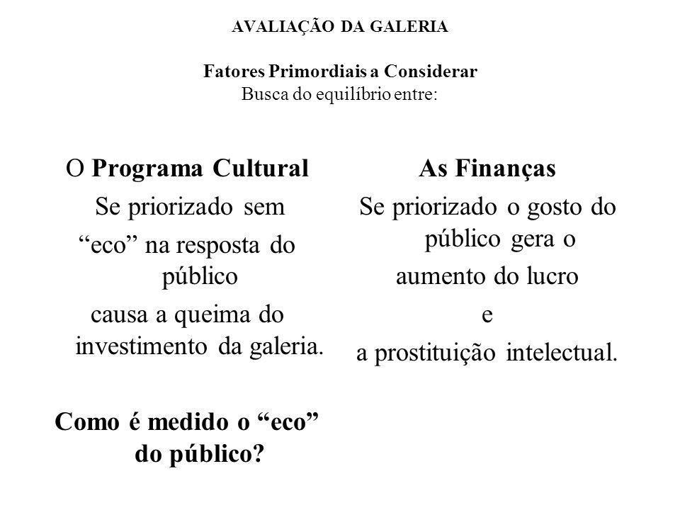 AVALIAÇÃO DA GALERIA Fatores Primordiais a Considerar Busca do equilíbrio entre: O Programa Cultural Se priorizado sem eco na resposta do público causa a queima do investimento da galeria.