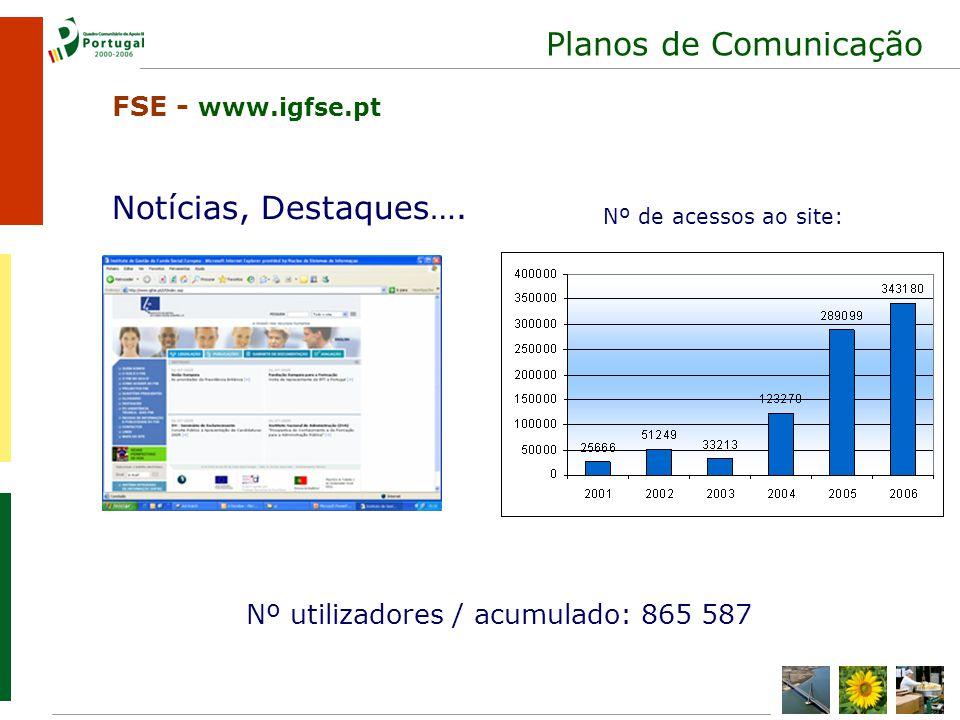 Planos de Comunicação Nº utilizadores / acumulado: 865 587 Notícias, Destaques….