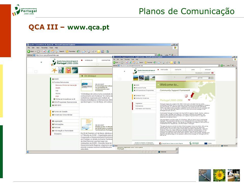 Planos de Comunicação QCA III – www.qca.pt