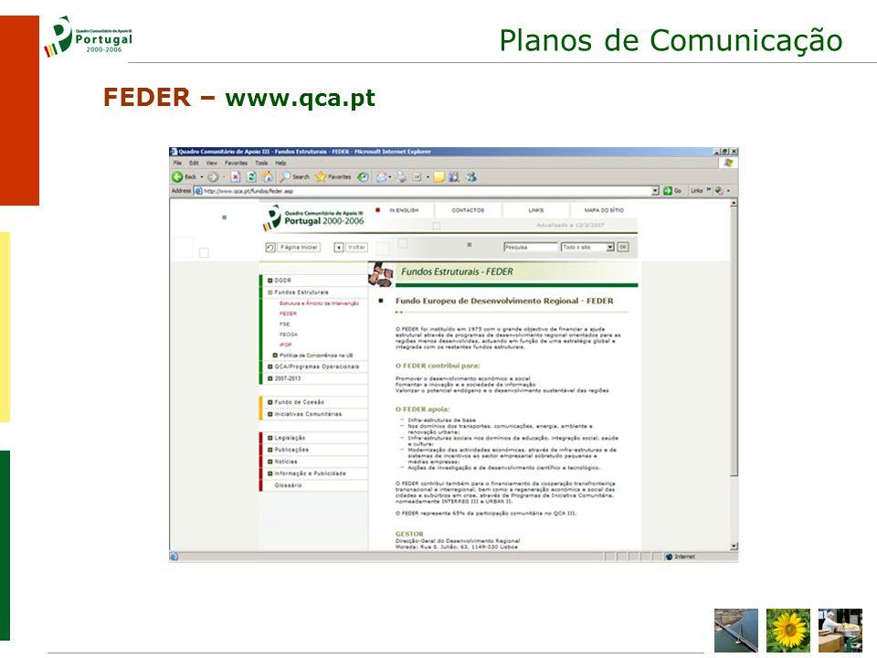 Planos de Comunicação FEDER – www.qca.pt