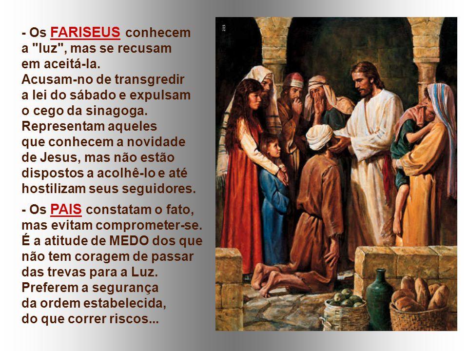Depois, o Evangelho coloca em cena vários PERSONAGENS: - Os VIZINHOS percebem o dom da vida que vem de Jesus, mas não dão o passo definitivo para ter