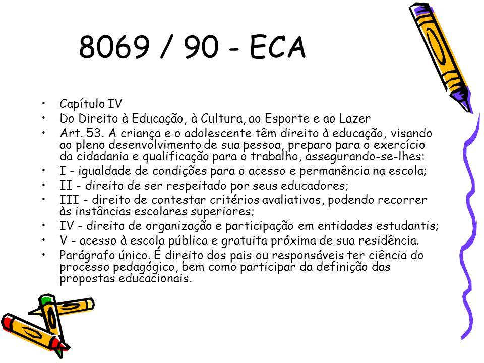 8069 / 90 - ECA Capítulo IV Do Direito à Educação, à Cultura, ao Esporte e ao Lazer Art. 53. A criança e o adolescente têm direito à educação, visando