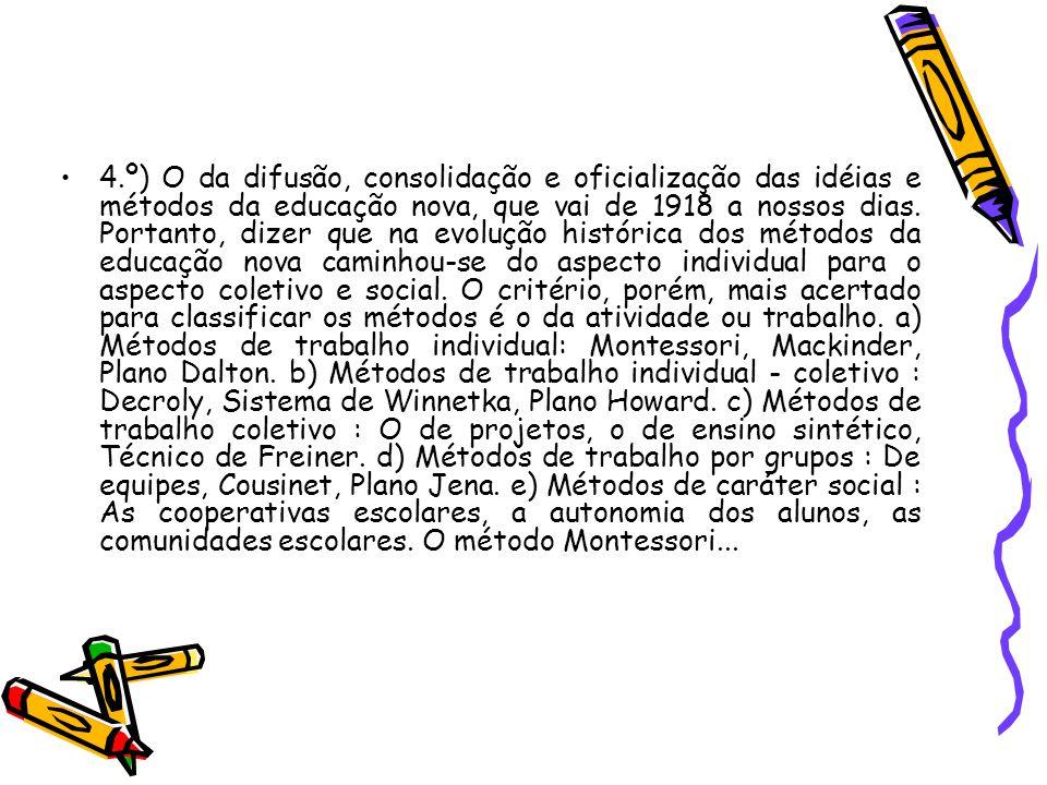 4.º) O da difusão, consolidação e oficialização das idéias e métodos da educação nova, que vai de 1918 a nossos dias. Portanto, dizer que na evolução