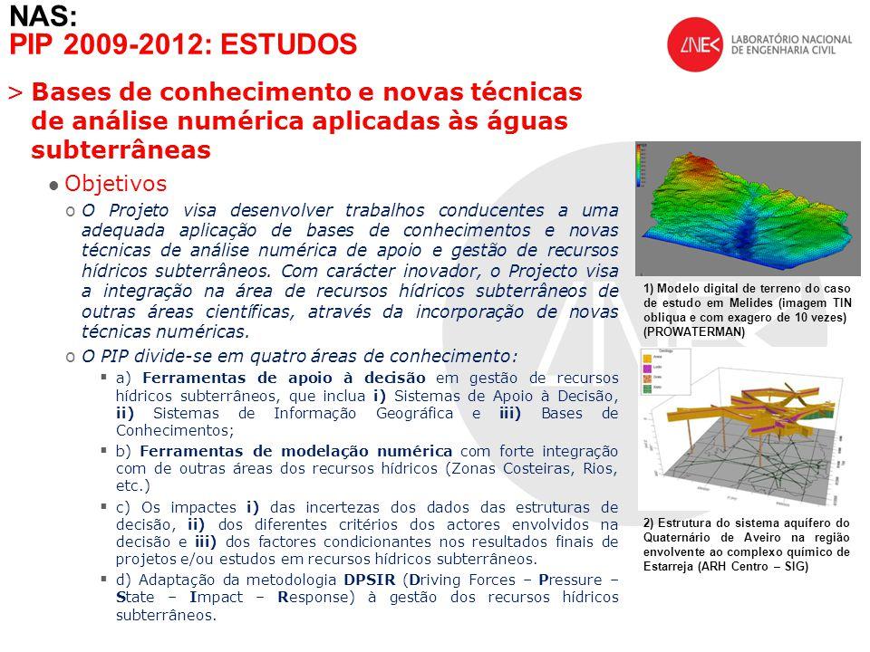 >Bases de conhecimento e novas técnicas de análise numérica aplicadas às águas subterrâneas Objetivos oO Projeto visa desenvolver trabalhos conducente