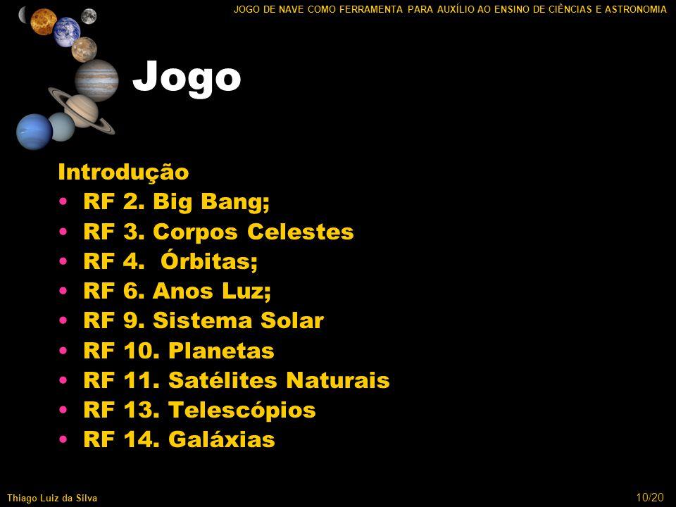 10/20 JOGO DE NAVE COMO FERRAMENTA PARA AUXÍLIO AO ENSINO DE CIÊNCIAS E ASTRONOMIA Thiago Luiz da Silva Jogo Introdução RF 2.
