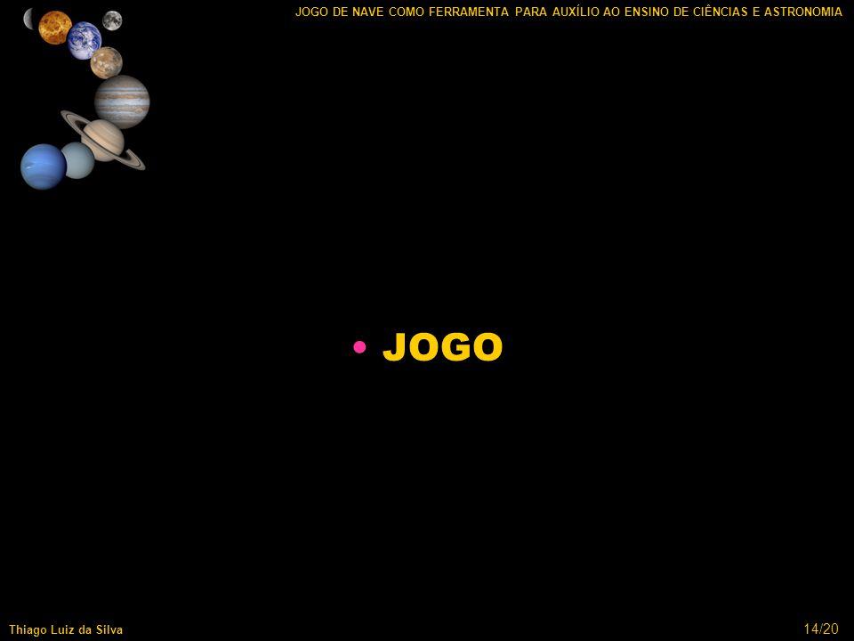 14/20 JOGO DE NAVE COMO FERRAMENTA PARA AUXÍLIO AO ENSINO DE CIÊNCIAS E ASTRONOMIA Thiago Luiz da Silva JOGO
