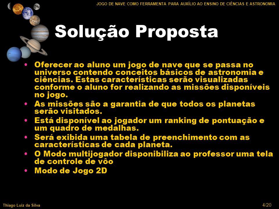 15/20 JOGO DE NAVE COMO FERRAMENTA PARA AUXÍLIO AO ENSINO DE CIÊNCIAS E ASTRONOMIA Thiago Luiz da Silva Multiusuário