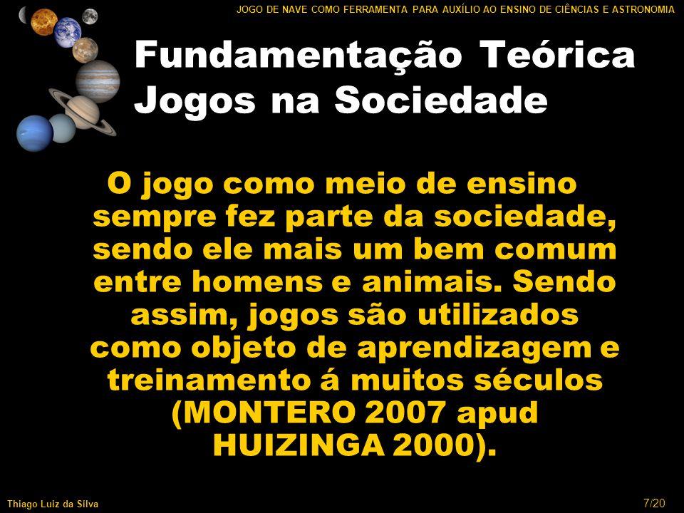 8/20 JOGO DE NAVE COMO FERRAMENTA PARA AUXÍLIO AO ENSINO DE CIÊNCIAS E ASTRONOMIA Thiago Luiz da Silva Fundamentação Teórica Astronomia na 5ª Série Dados básicos: LUCI (1996) e VALLE (2005); Dados complementares: (CAMARGO,2005)
