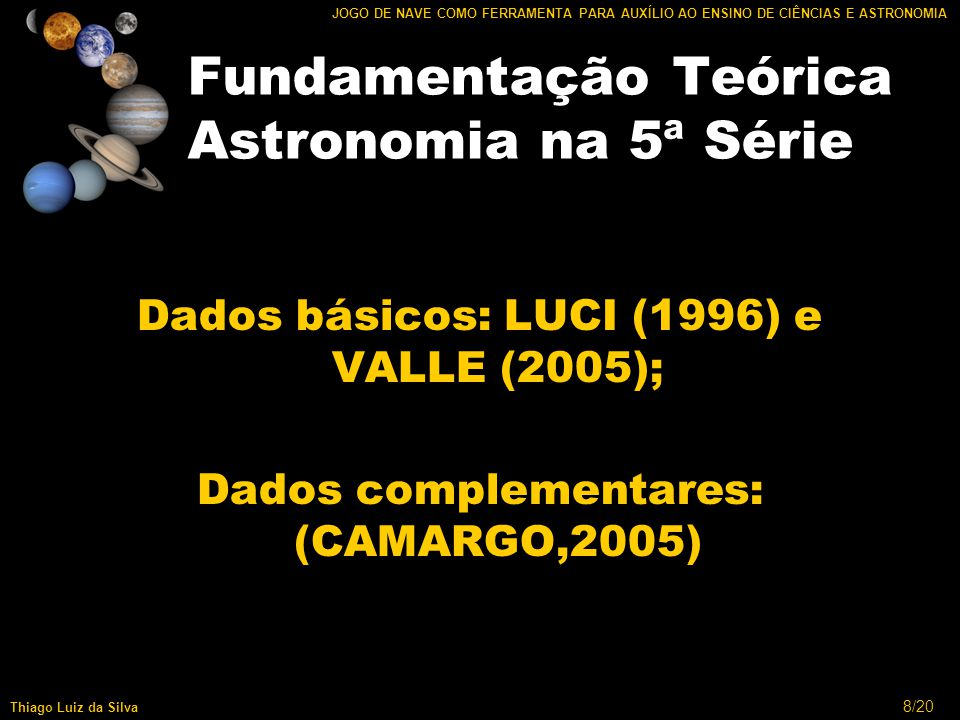19/20 JOGO DE NAVE COMO FERRAMENTA PARA AUXÍLIO AO ENSINO DE CIÊNCIAS E ASTRONOMIA Thiago Luiz da Silva Conclusão Área de Jogos Jogos Educacionais XNA Astronomia.
