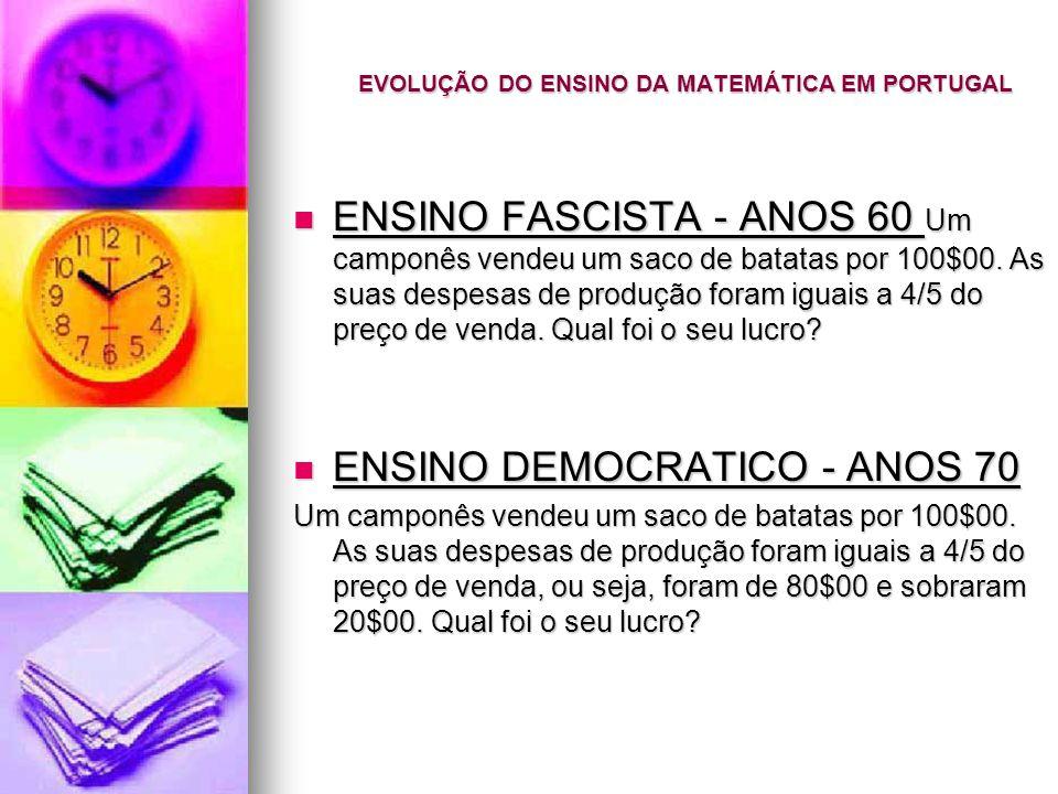 EVOLUÇÃO DO ENSINO DA MATEMÁTICA EM PORTUGAL ENSINO FASCISTA - ANOS 60 Um camponês vendeu um saco de batatas por 100$00.