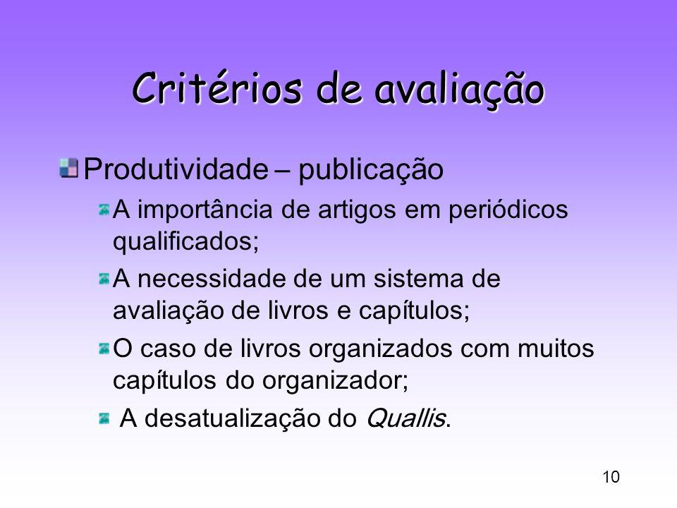 10 Critérios de avaliação Produtividade – publicação A importância de artigos em periódicos qualificados; A necessidade de um sistema de avaliação de