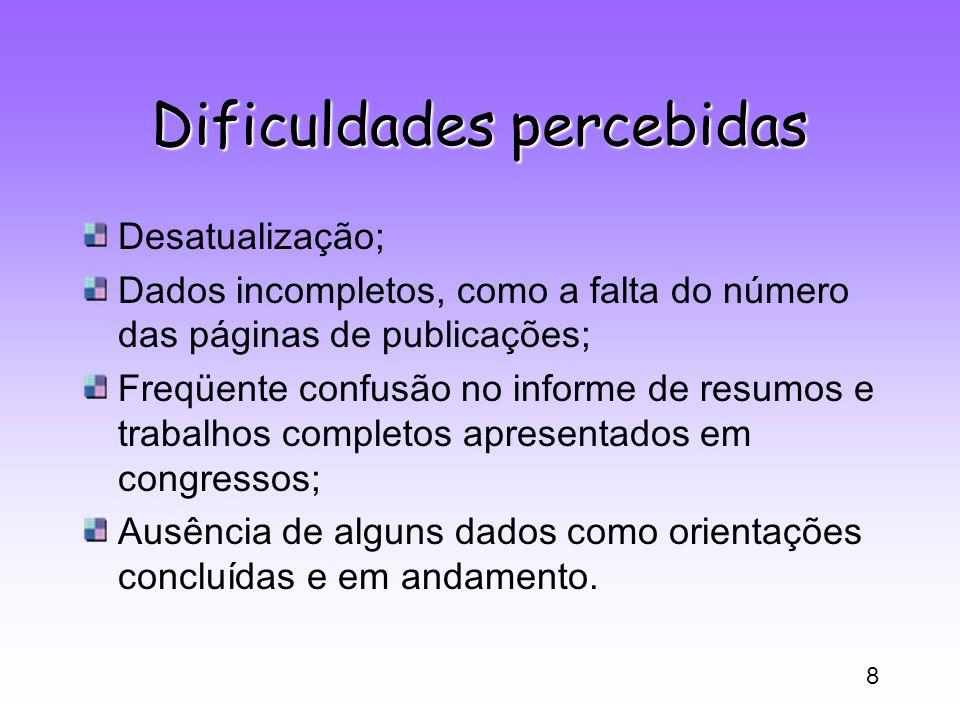 8 Dificuldades percebidas Desatualização; Dados incompletos, como a falta do número das páginas de publicações; Freqüente confusão no informe de resum