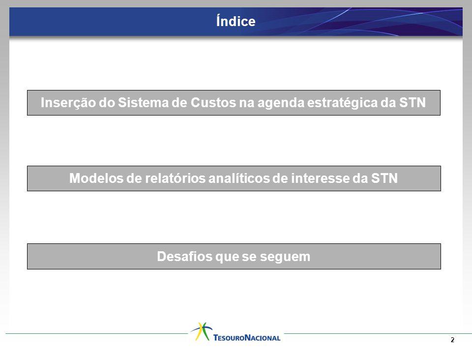 Índice 2 Inserção do Sistema de Custos na agenda estratégica da STN Modelos de relatórios analíticos de interesse da STN Desafios que se seguem